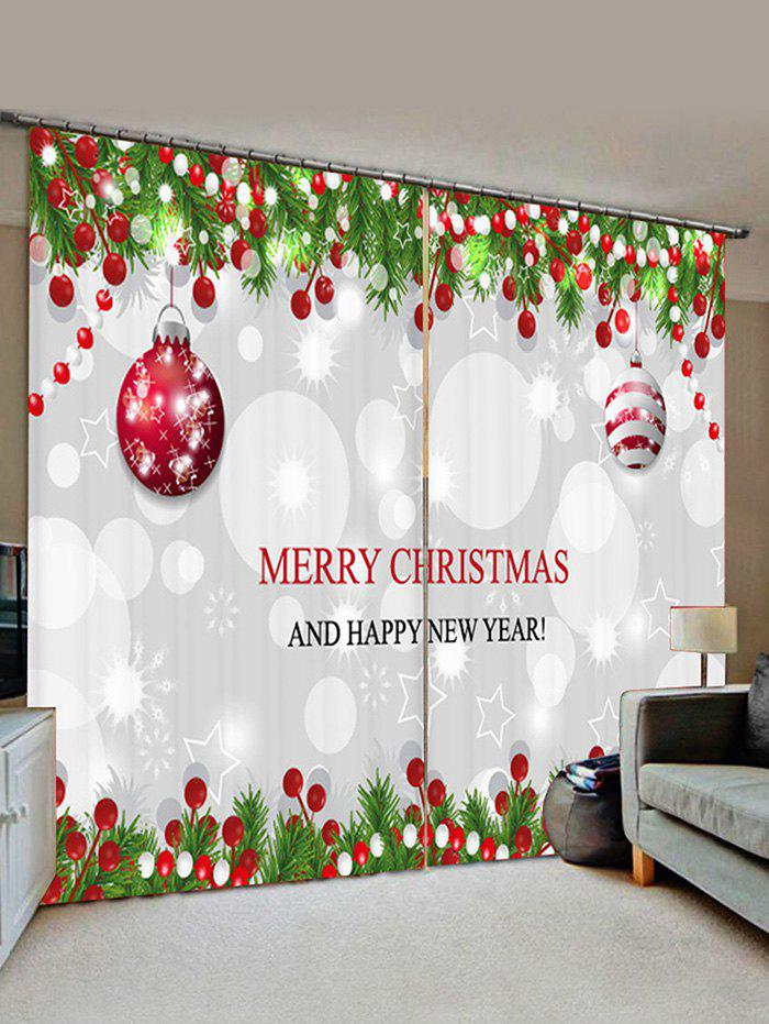 2 Panels Christmas Tree Balls Greeting Pattern Window Curtains - PLATINUM W30 X L65 INCH X 2PCS