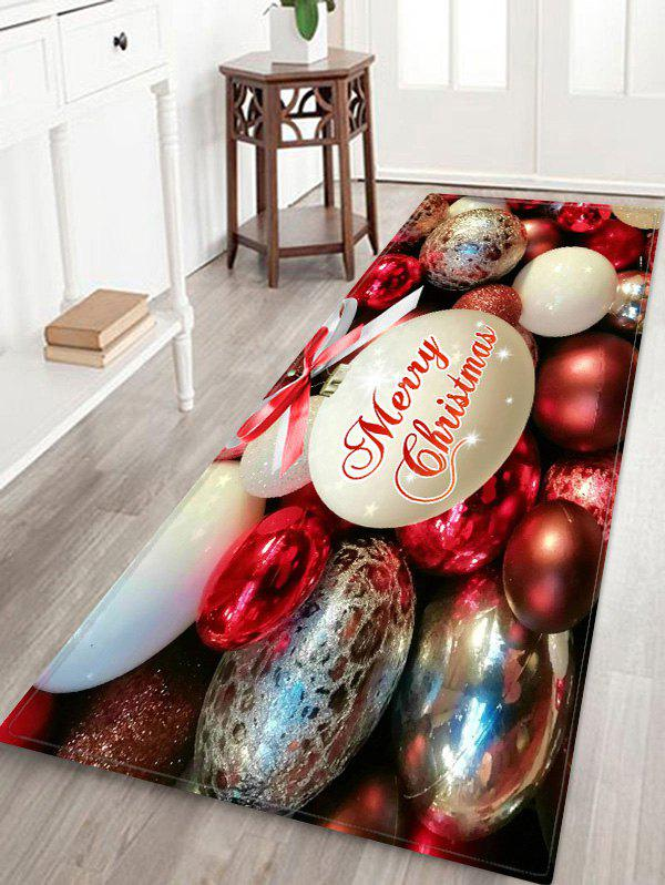 Christmas Bowknot Balls Greeting Pattern Water Absorption Area Rug - multicolor W24 X L71 INCH