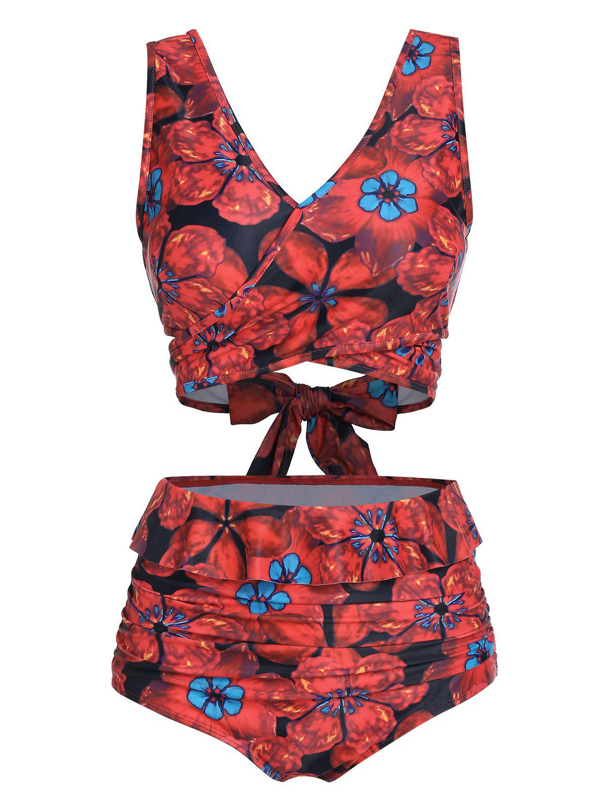 Floral Print V Neck High Waisted Tankini Swimsuit - RED M
