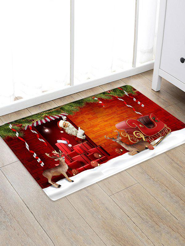 Christmas Santa Claus Sleigh Brick House Pattern Water Absorption Area Rug - multicolor W24 X L35.5 INCH
