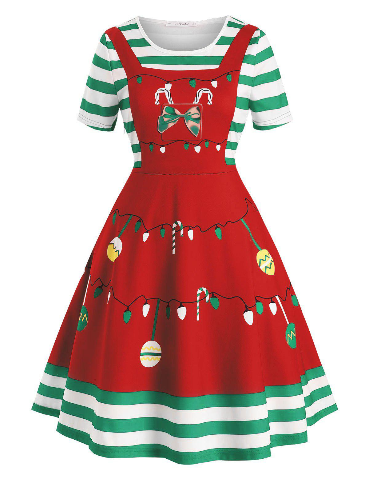 Plus Size Vintage Christmas Print Fit and Flare Dress - RED 2X