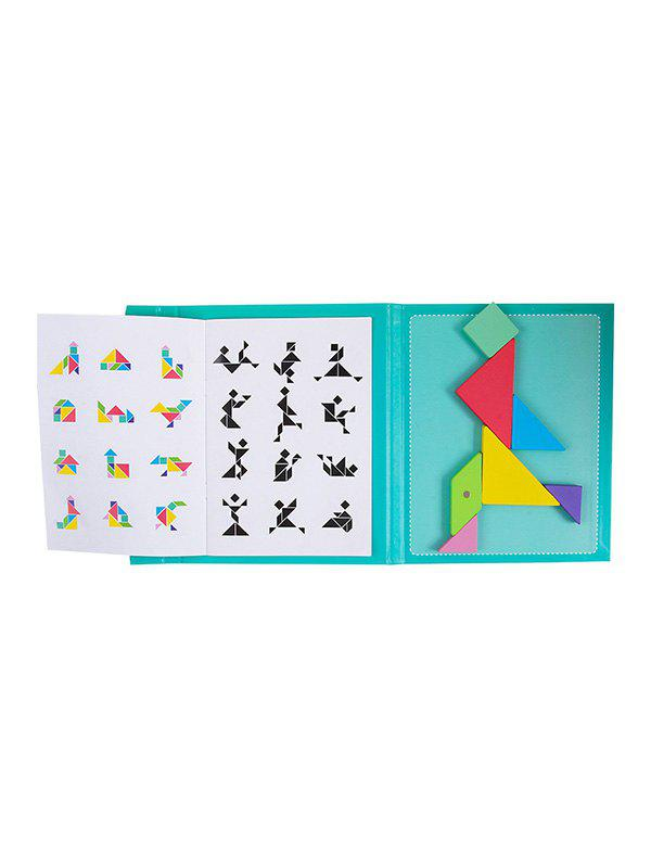 Puzzle Jigsaw Colorful Geometry Magnetic Tangram - multicolor A