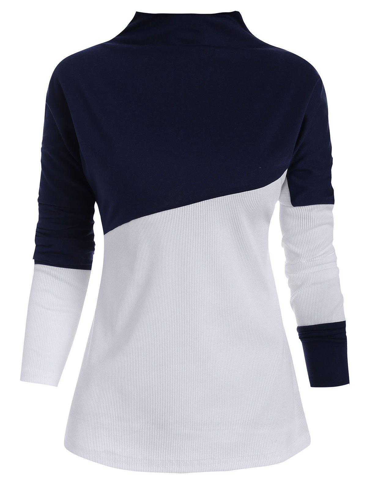 Slash Neck Colorblock Longline Top - DEEP BLUE M