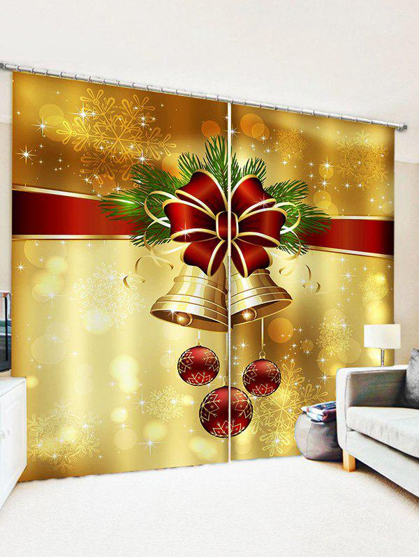 2 Panels Christmas Balls Bells Bowknot Pattern Window Curtains - multicolor W30 X L65 INCH X 2PCS