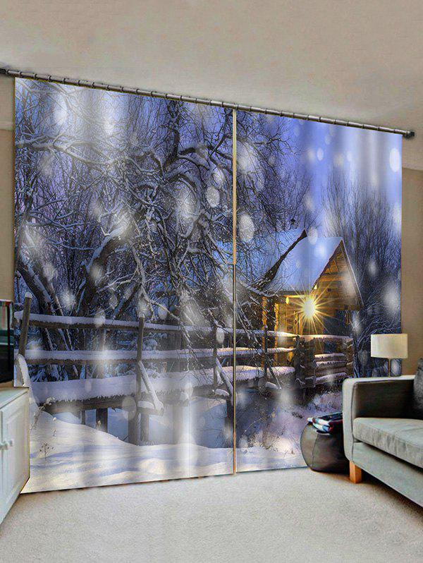 2 Panels Snowy Forest House Light Pattern Window Curtains - multicolor W33.5 X L79 INCH X 2PCS