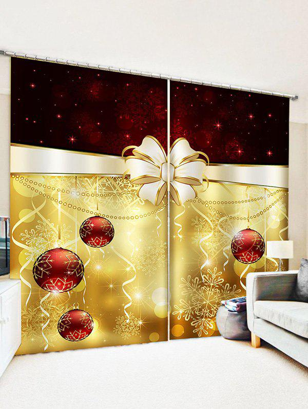 2 Panels Christmas Balls Bowknot Snowflakes Pattern Window Curtains - multicolor W30 X L65 INCH X 2PCS