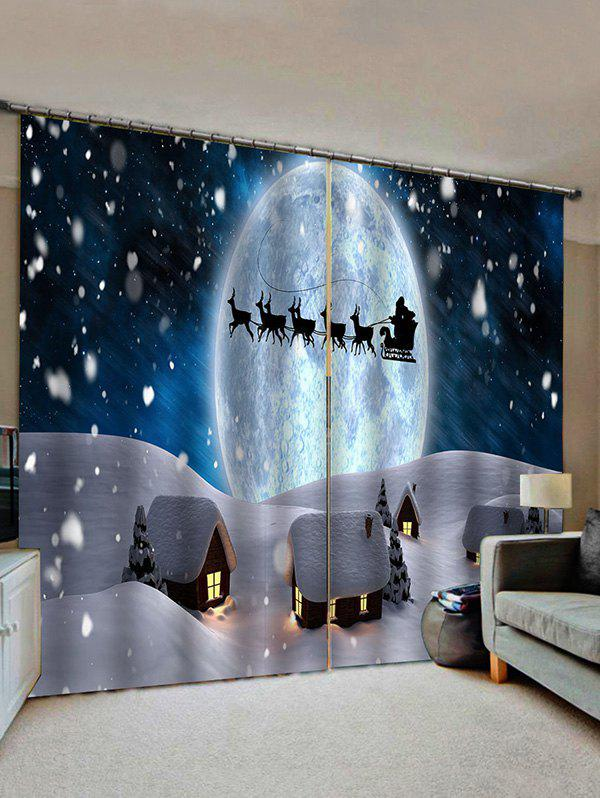 Christmas Snow Night Window Curtains - multicolor W33.5 X L79 INCH X 2PCS
