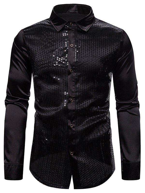Sequins Panel Button Up Long Sleeve Shirt - BLACK 2XL
