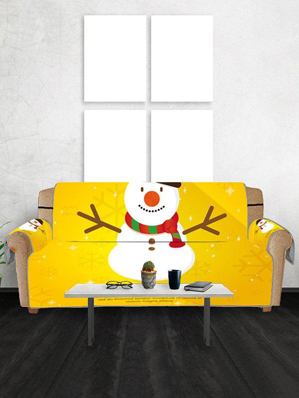 Christmas Snowman Snowflake Greeting Pattern Couch Cover - YELLOW TWO SEATS