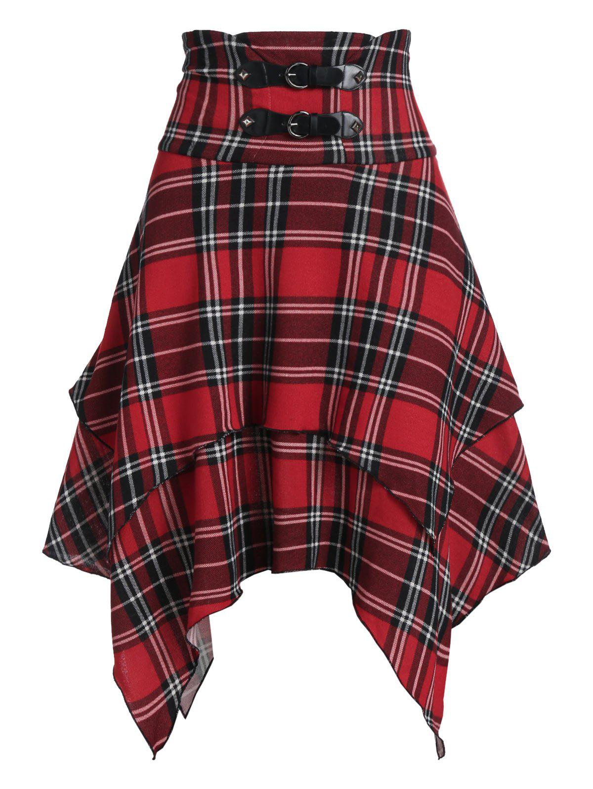 Plaid Print Lace-up Layered Handkerchief Skirt - CHERRY RED 3XL