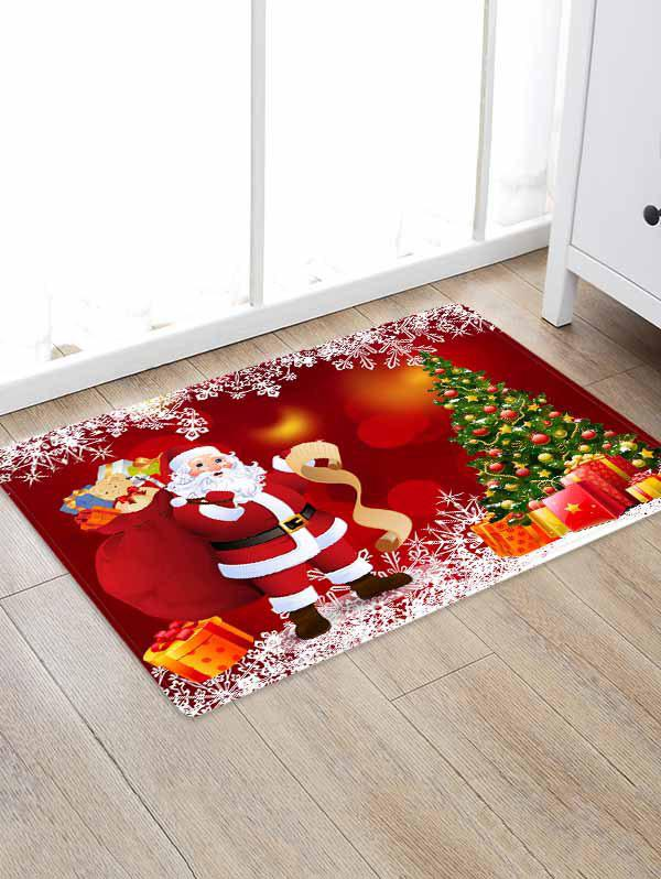 Christmas Tree Gifts Santa Claus Pattern Water Absorption Area Rug - multicolor W24 X L35.5 INCH