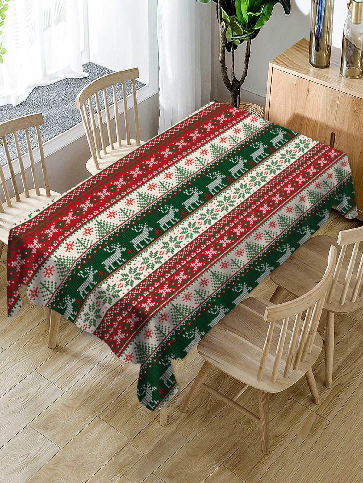 Christmas Tree Elk Snowflake Print Fabric Tablecloth - multicolor 55 X 71 INCH