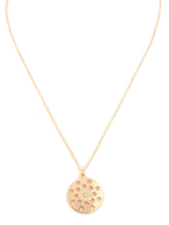 Hollow Star Round Pendant Necklace - GOLD
