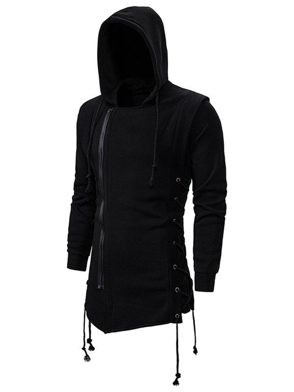 Side Lace Up Fleece Gothic Hoodie - BLACK L