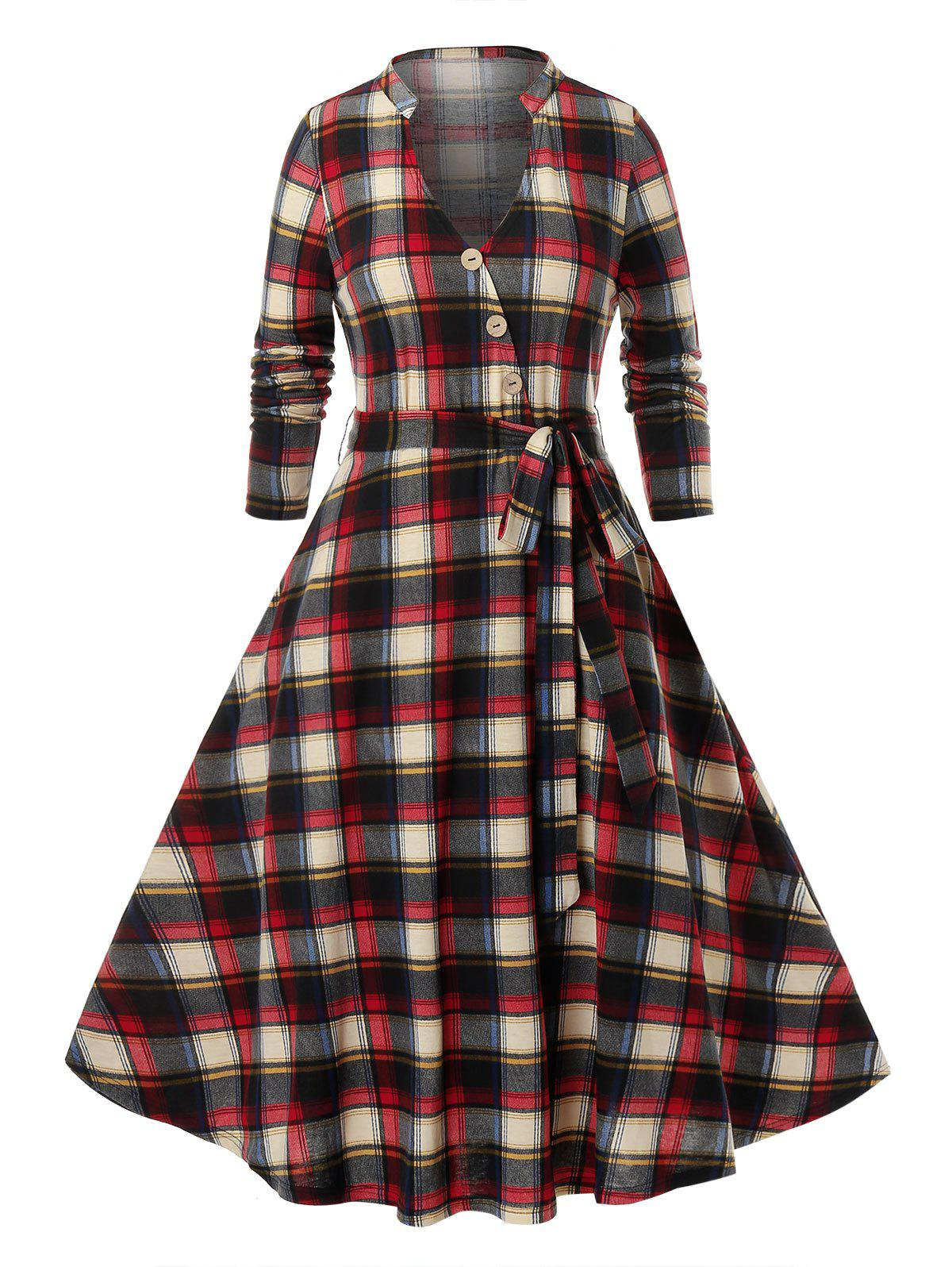 Plus Size Plaid Pattern robe à manches longues - multicolor L