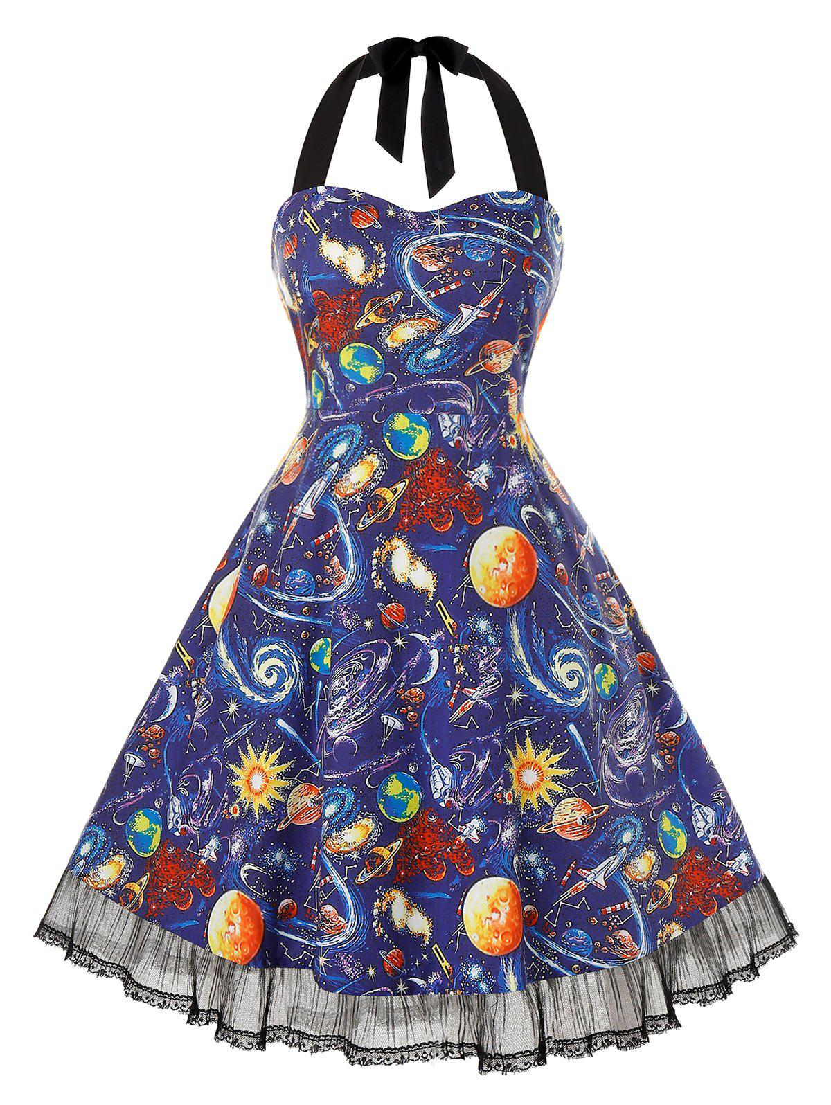 Plus Size Vintage Halter Planet Print Pin Up Dress - BLUEBERRY BLUE 4X