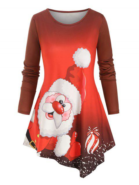 Santa Claus Printed Asymmetrical Christmas Plus Size Top - RED 5X
