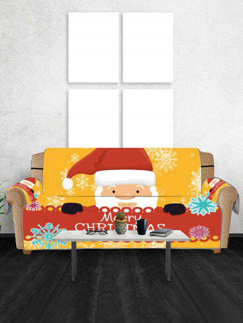 Cartoon Father Christmas Couch Cover - BRIGHT YELLOW THREE SEATS