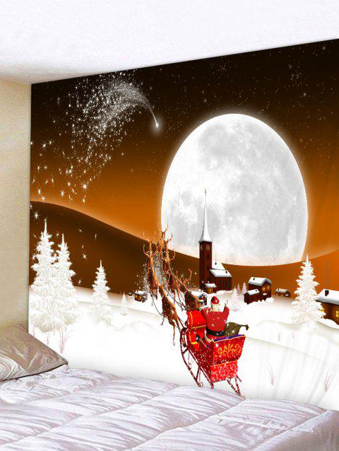 Father Christmas Deer Moon Printed Tapestry - CHOCOLATE W59 X L59 INCH