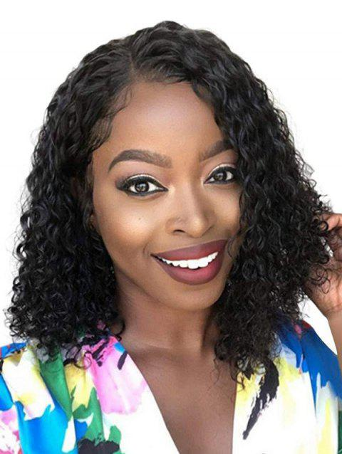 Side Part Small Curl Synthetic Medium Wig - BLACK