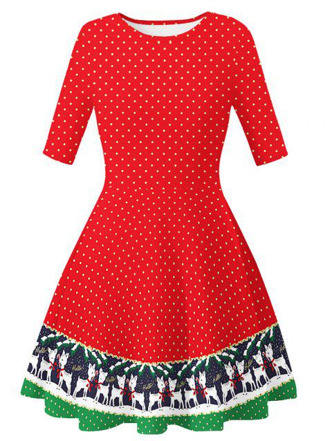 Santa Claus Dotted Cats Christmas Flare Dress - multicolor D XL