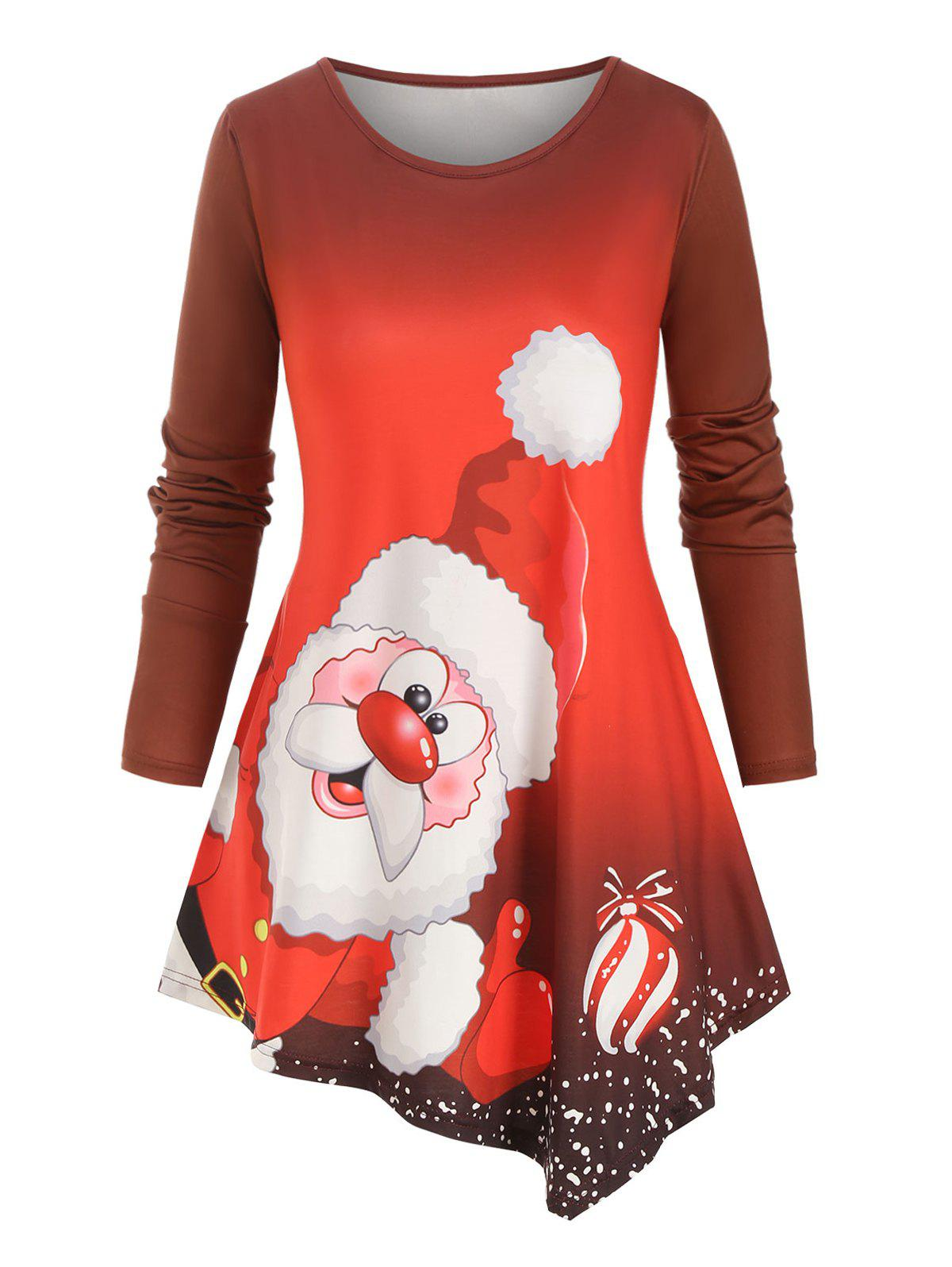 Santa Claus Printed Asymmetrical Christmas Plus Size Top - RED 3X