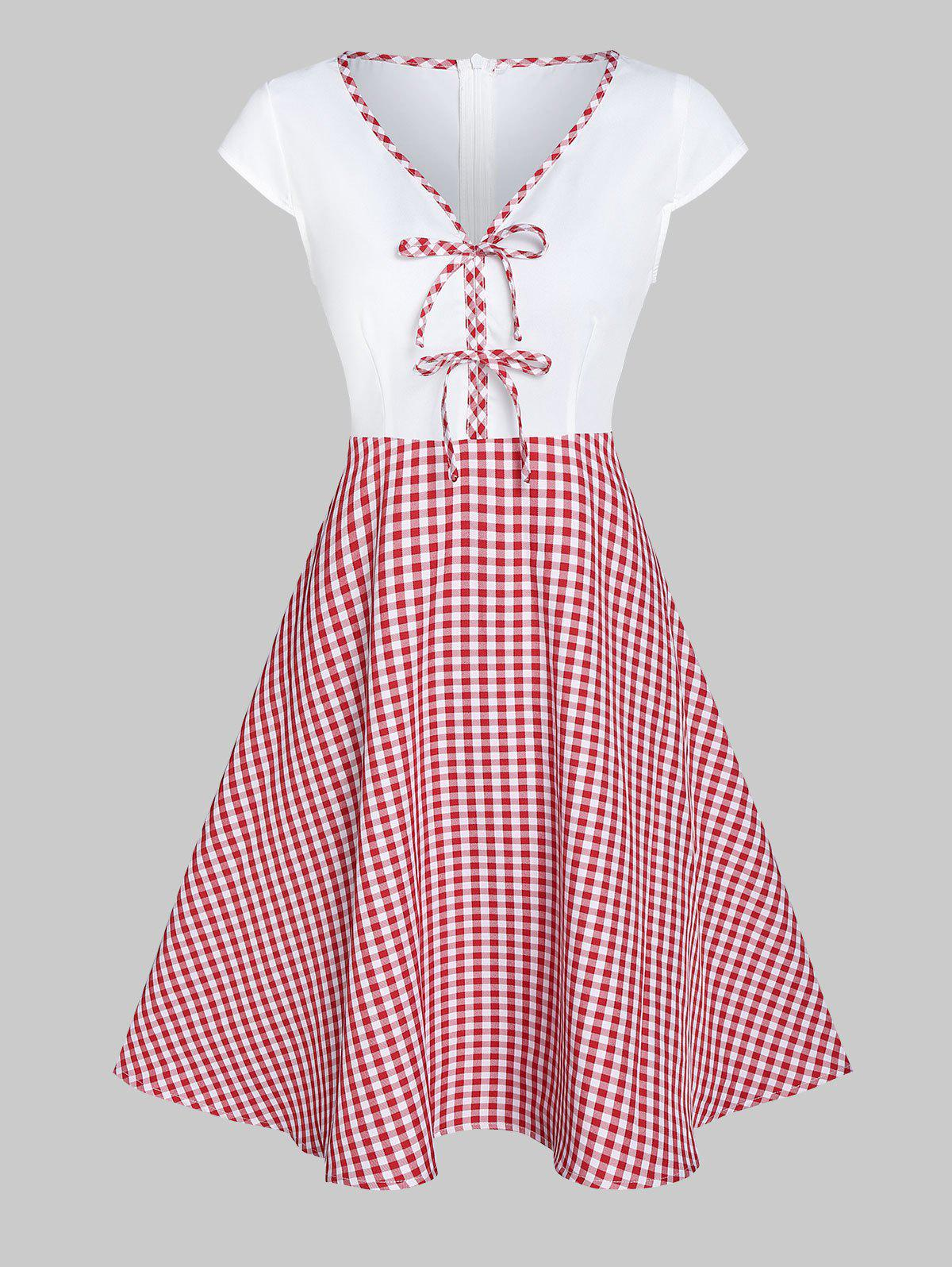 Plaid Print Bowknot Embellished Flare Dress - RED L