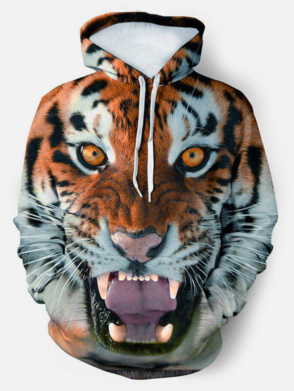 3D Tiger Graphic Front Pocket Drawstring Hoodie - multicolor L