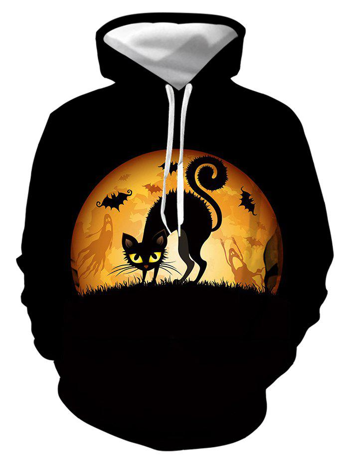 Scary Cat Graphic Front Pocket Drawstring Hoodie - multicolor L