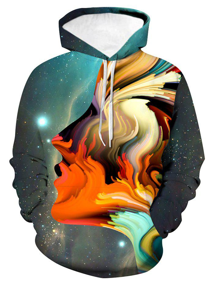 Art Face Graphic Front Pocket Drawstring Hoodie - multicolor L