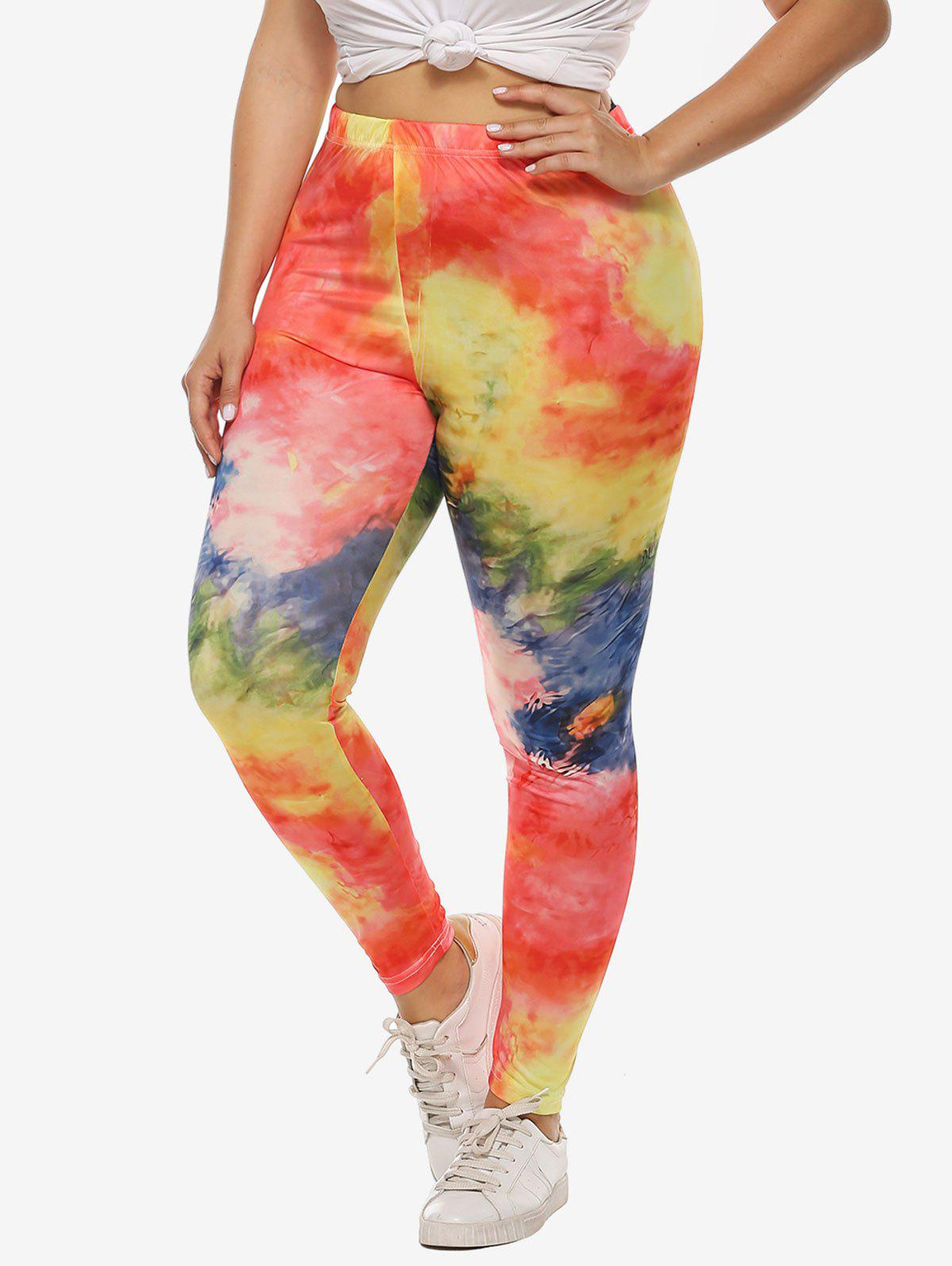 Tie Dye High Waisted Pull On Plus Size Leggings - multicolor 4X