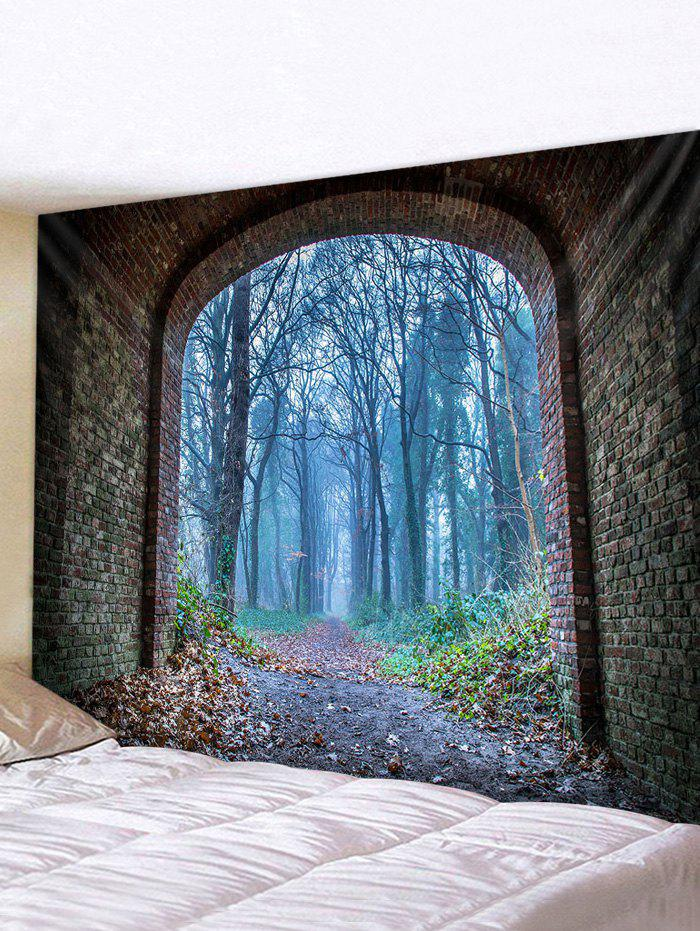 Forest Brick Tunnel Print Tapestry Wall Hanging Art Decoration - multicolor W79 X L71 INCH