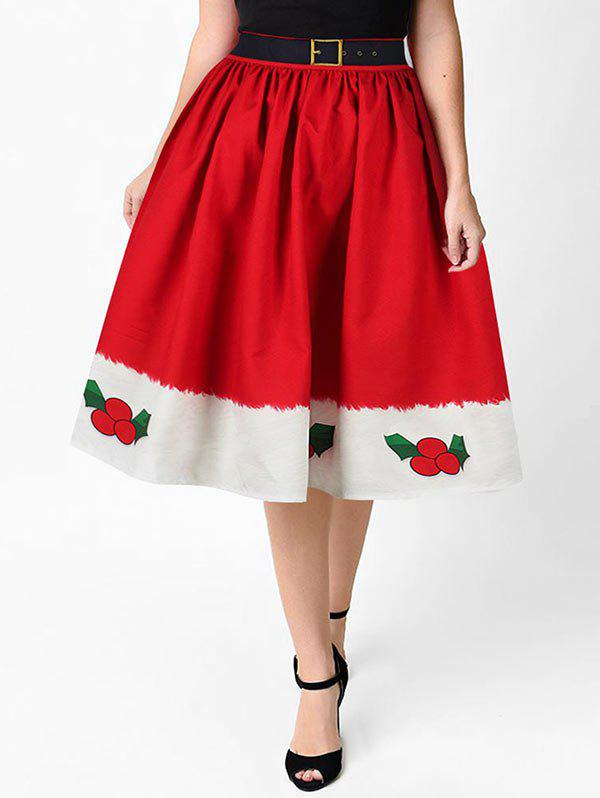 Santa Claus Snowman Christmas Flare Skirt - multicolor B XL