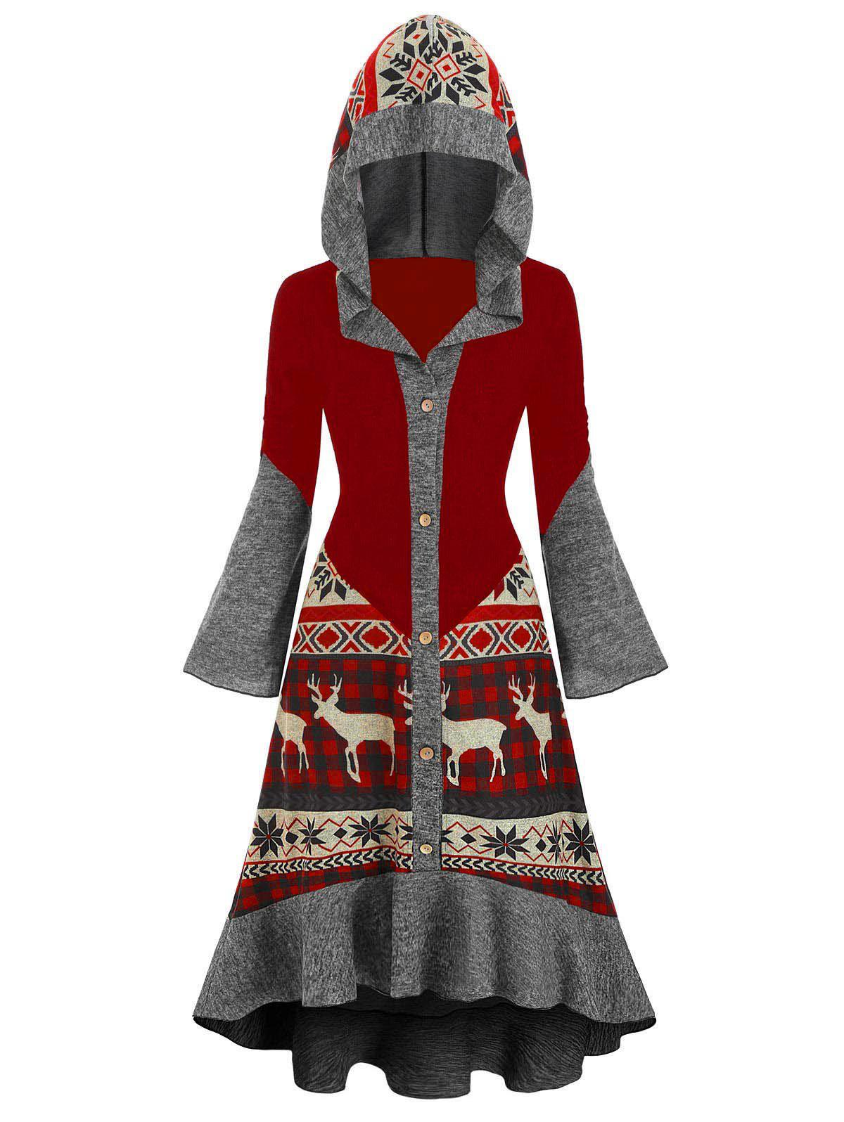 Christmas Elk Hooded High Low Flounce Hem Knitted Dress - multicolor C S