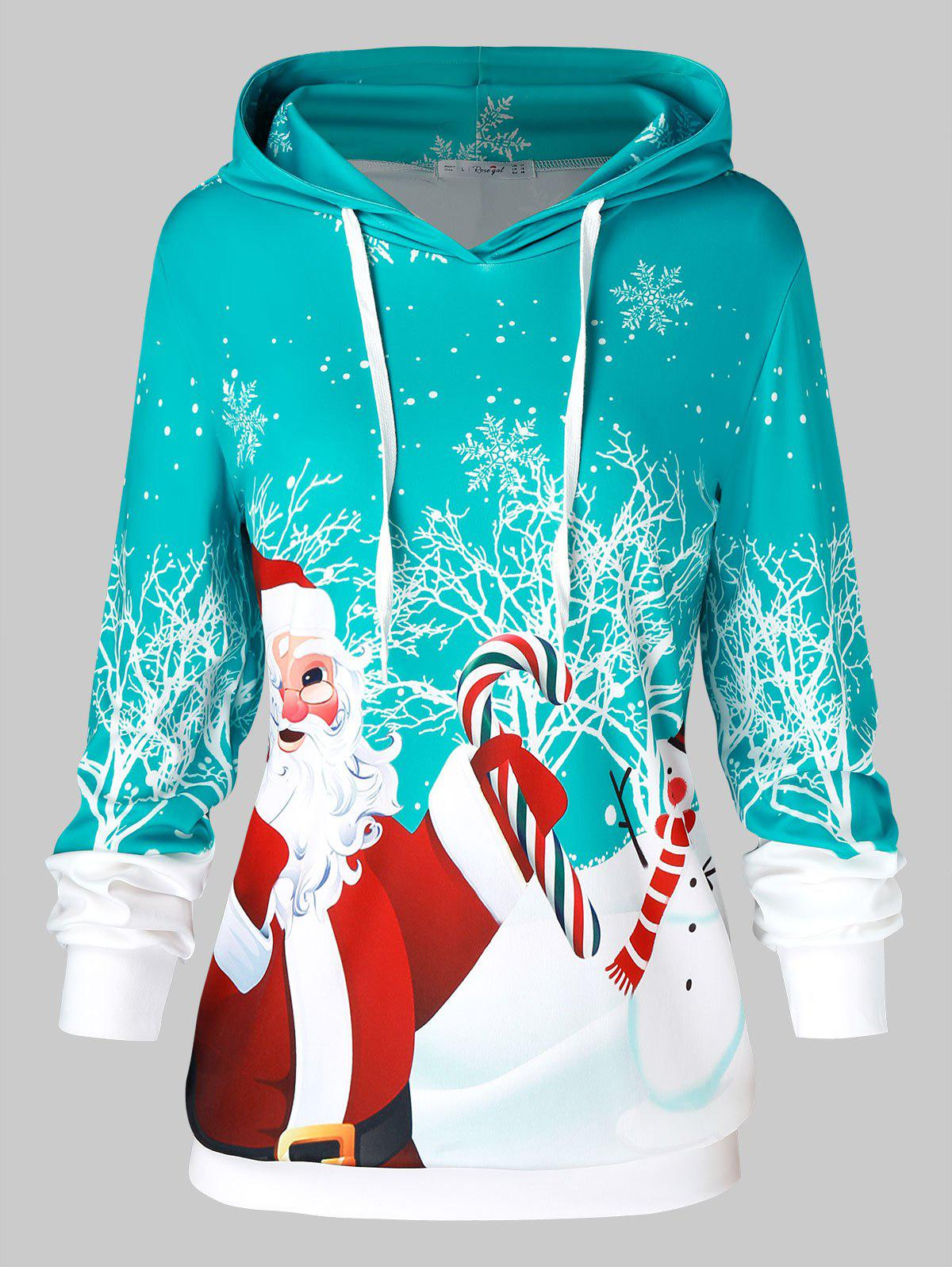 Plus Size Father Christmas Snowflake Printed Hoodie - CELESTE 2X