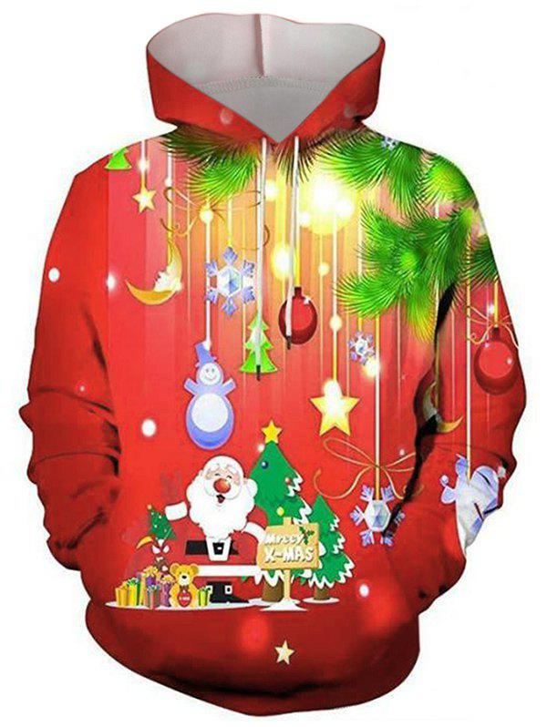 Merry Christmas Graphic Front Pocket Drawstring Hoodie - multicolor L