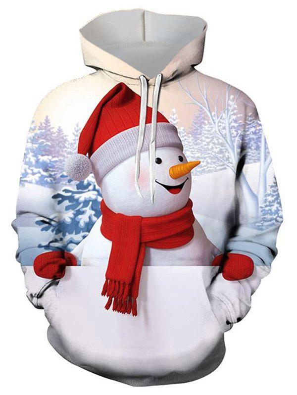 Christmas Snowman Graphic Front Pocket Drawstring Hoodie - multicolor L