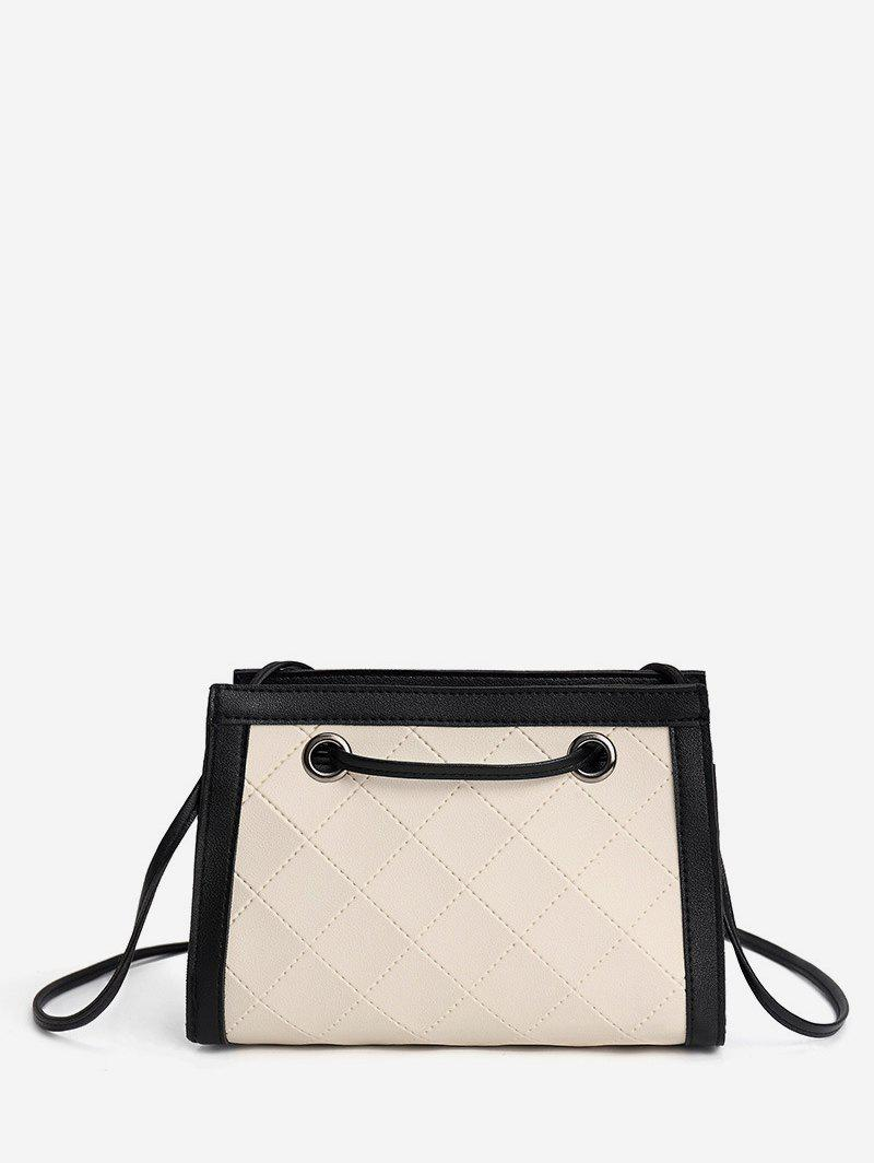 Contrast Trim Quilted PU Leather Shoulder Bag - WARM WHITE