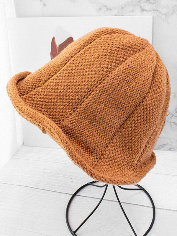 Knitted Solid Woolen Yarn Hat - LIGHT BROWN