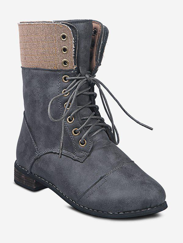 Lace Up Cargo Mid Calf Boots - DARK GRAY EU 38