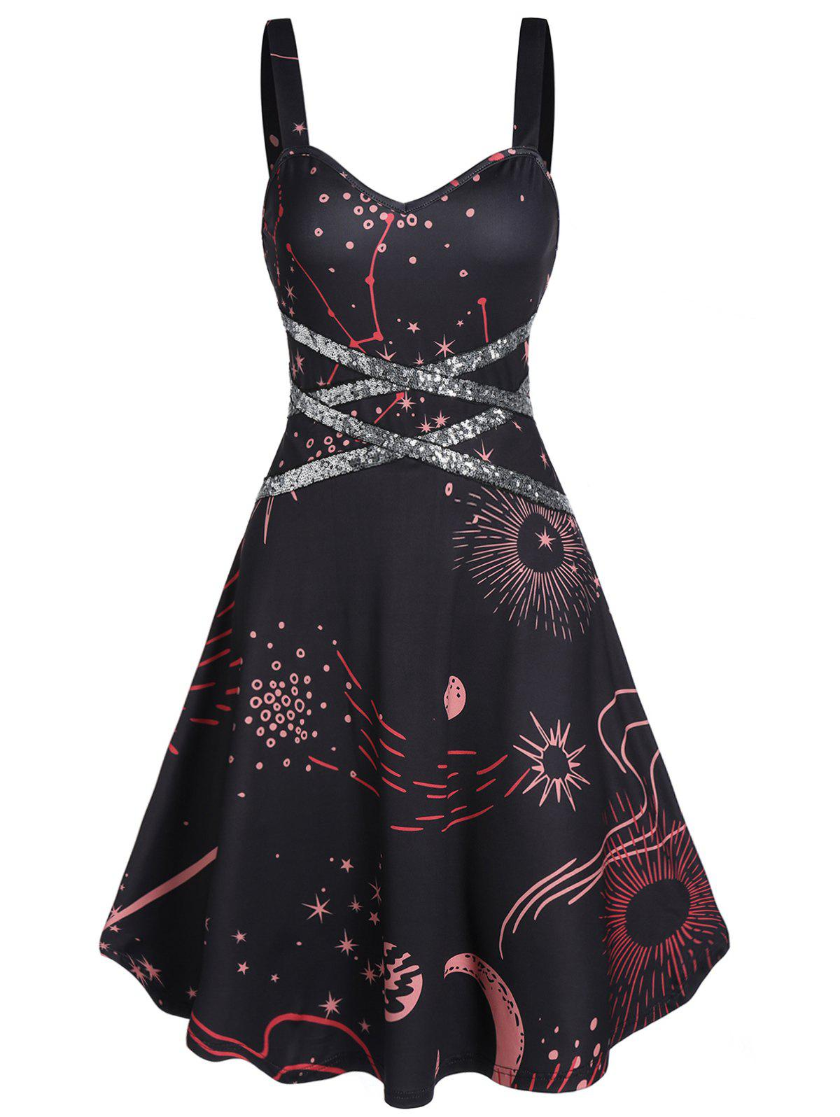 Star Print Sequin Sweetheart Collar A Line Dress - BLACK M