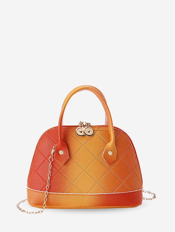 Quilted PU Leather Shell Tote Bag - SANDY BROWN