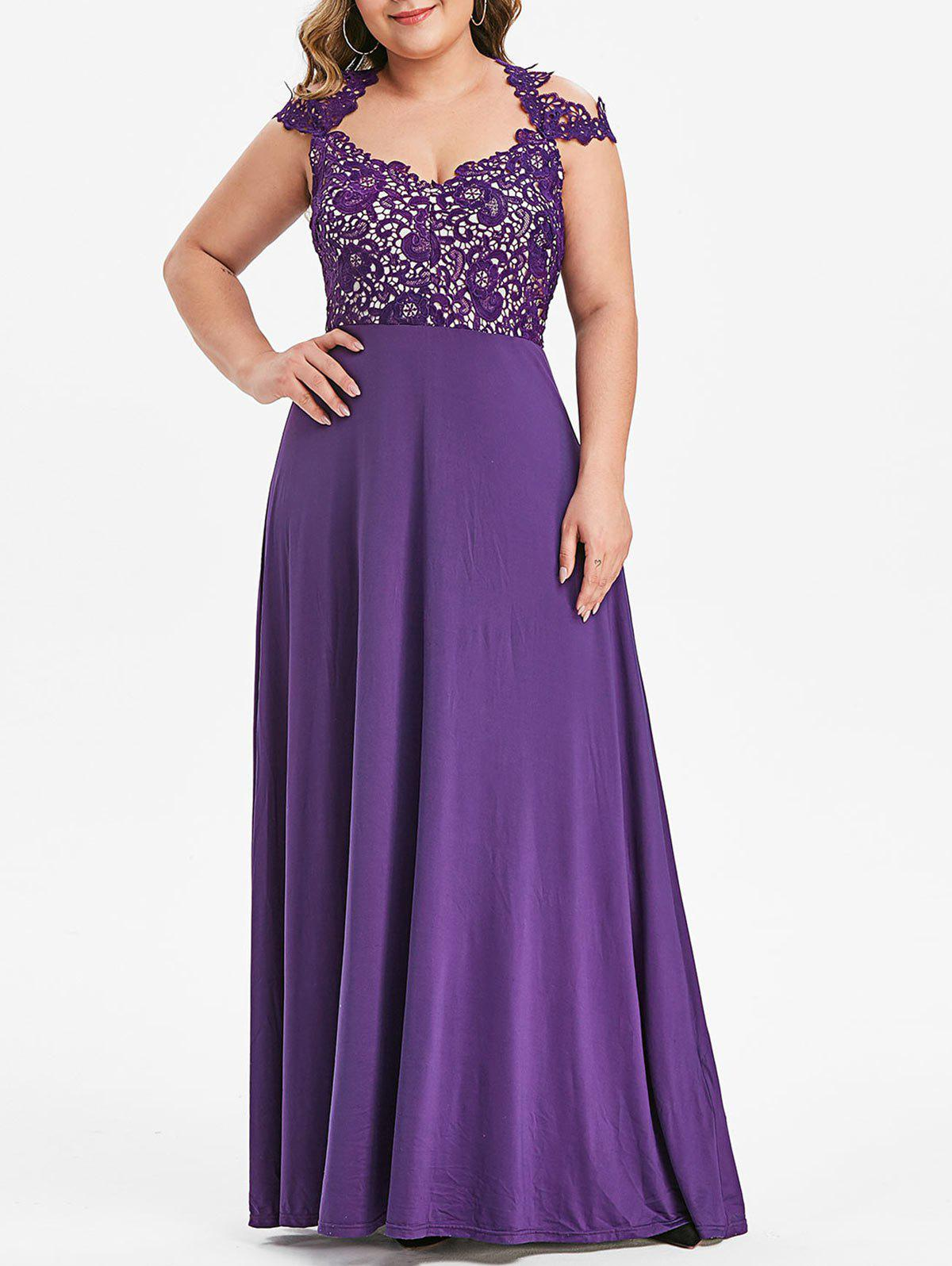 Plus Size Cut Out Flower Lace Insert Maxi Prom Dress - PURPLE 5X