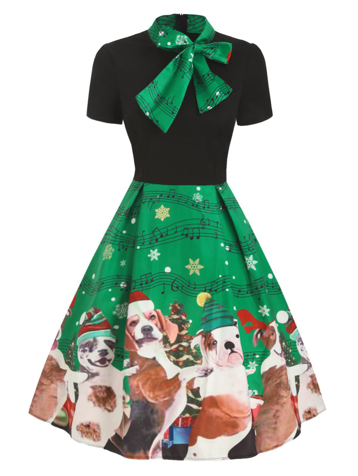 Bow Tie Collar Vintage Short Sleeve Dress - CLOVER GREEN M