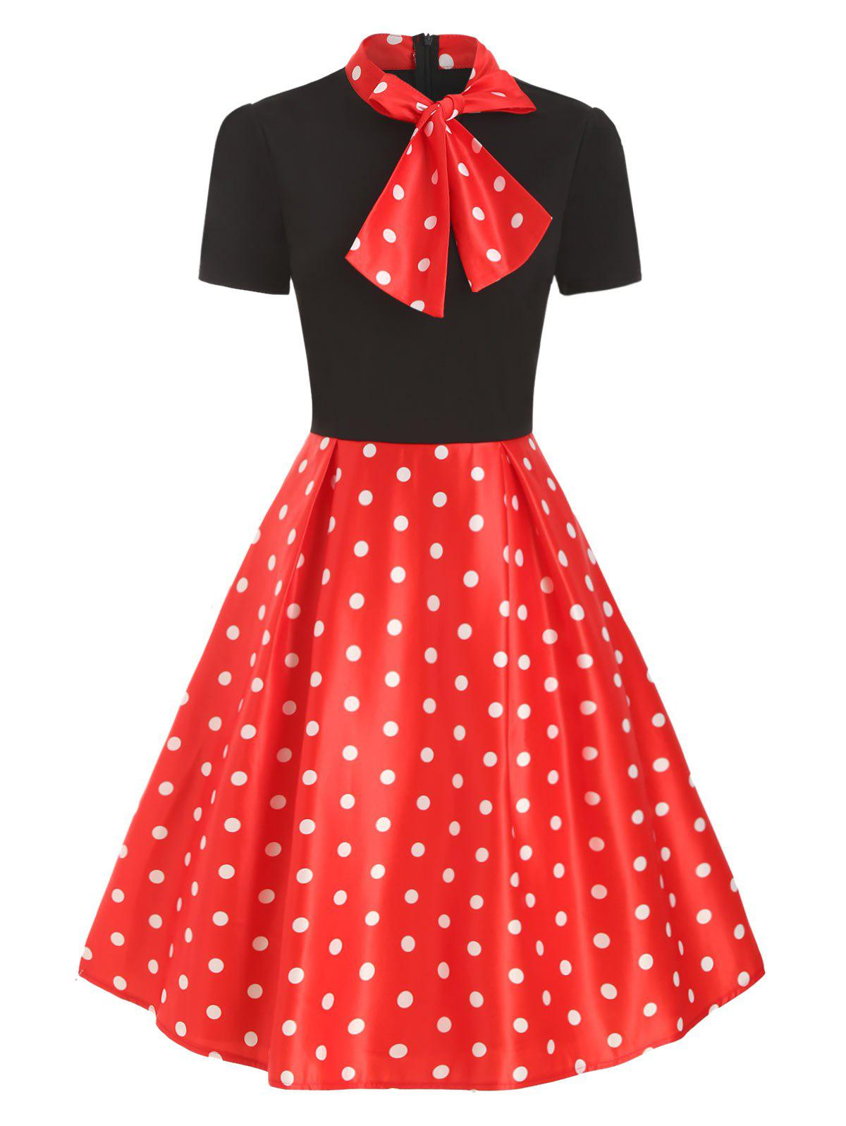 Bow Tie Collar Vintage Short Sleeve Dress - RED L