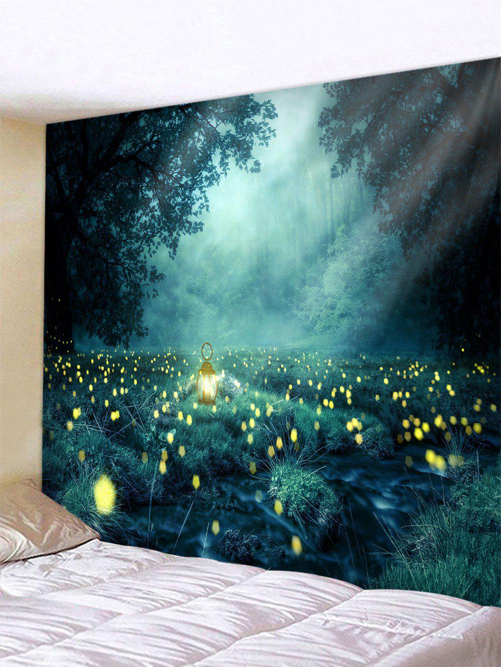 Forêt Firefly imprimé tapisserie - multicolor W59 X L51 INCH