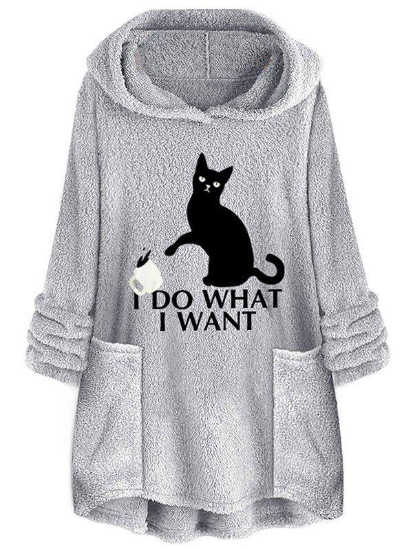 Plush Cat Letter Embroidered Tunic Hoodie - GRAY L