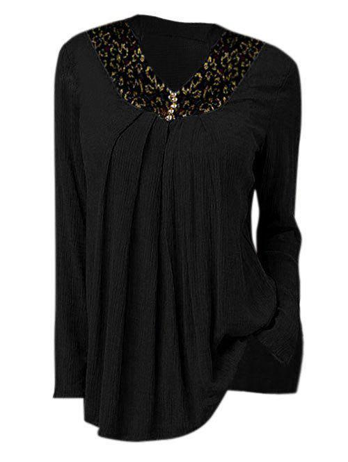 Plus Size Contrast Lace Peasant Blouse - BLACK 3X