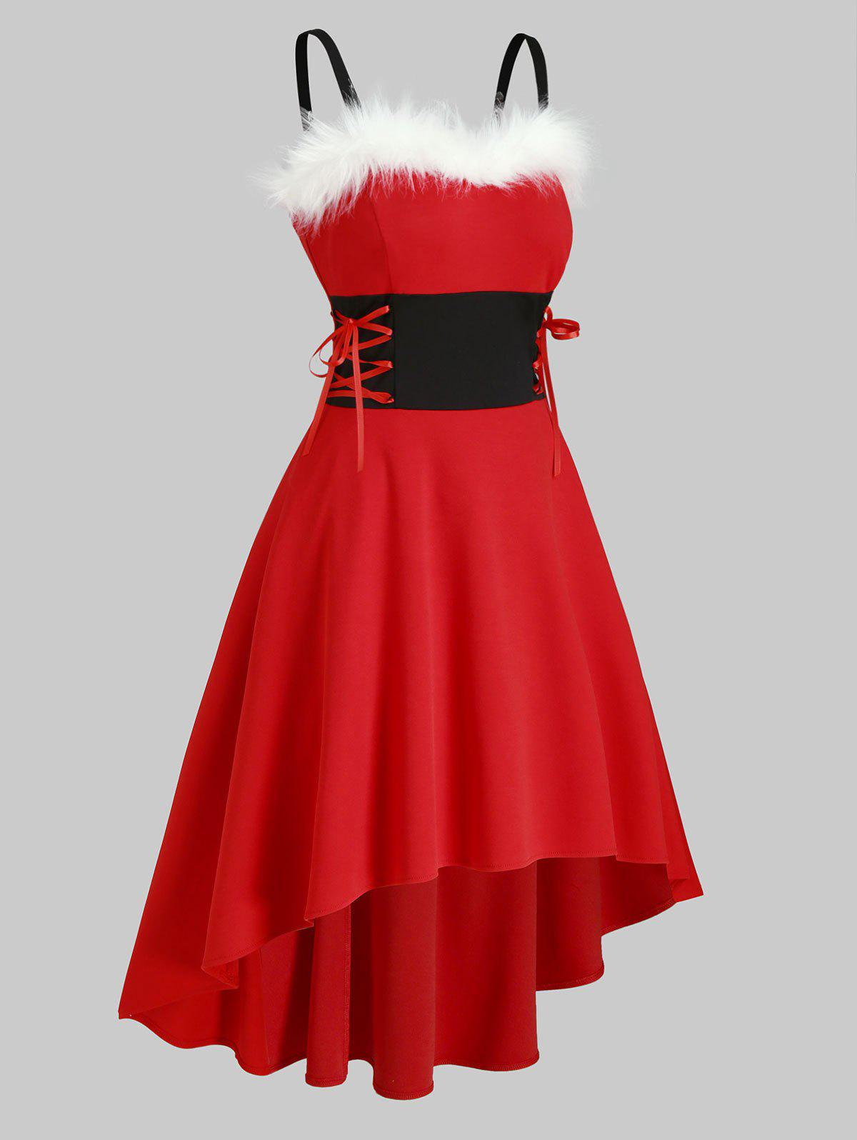 Christmas Faux Fur Insert Lace Up High Low Dress - RED L