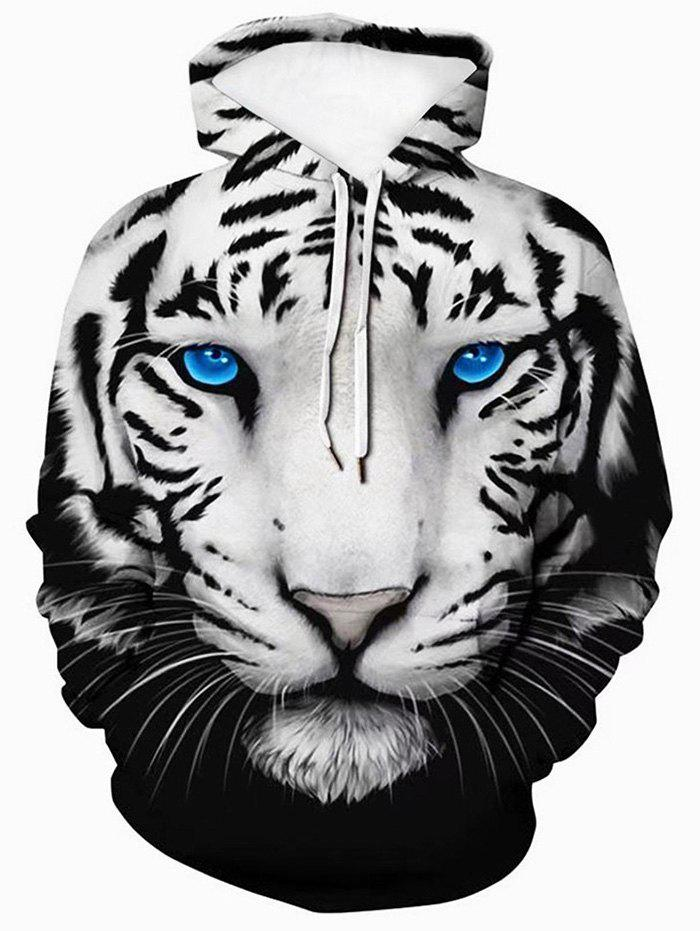 3D Tiger Graphic Front Pocket Casual Hoodie - multicolor XS